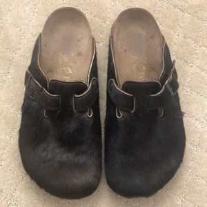 Birkenstock Papillio brown pony hair clogs size 40